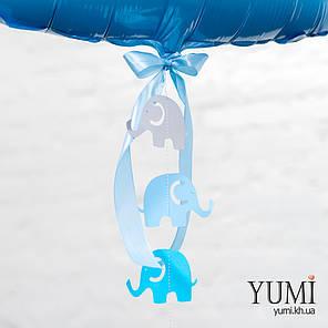 Фольгированная цифра 1 нежно-голубая с гирляндой , фото 2