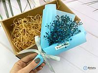 """Букет синих цветов """"IN BOX #9"""" композиция из сухих цветов прекрасный подарок"""