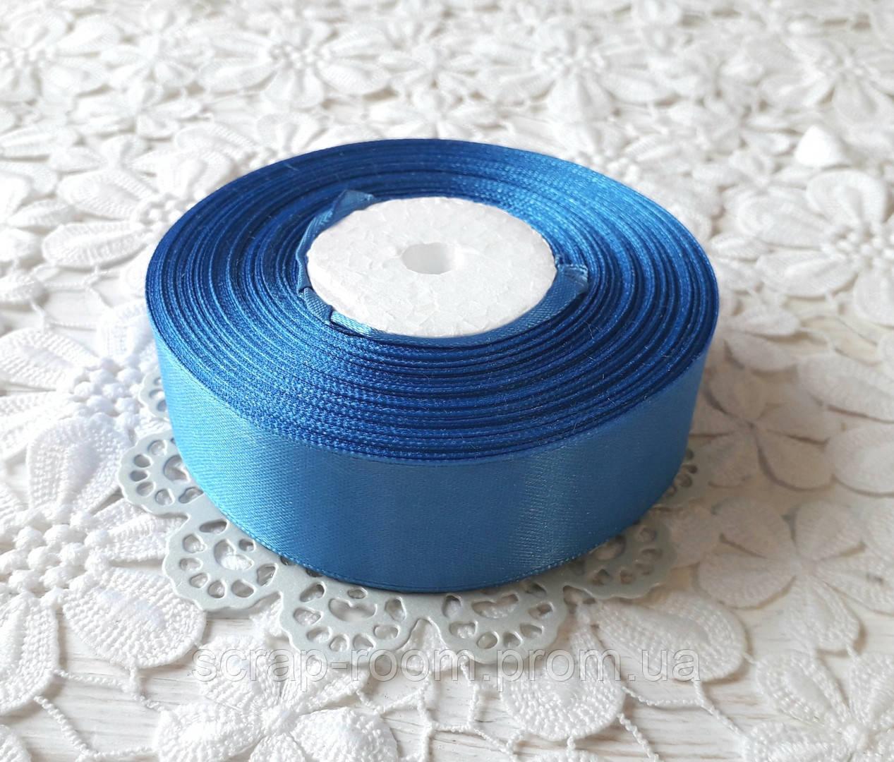 Лента атласная 2,5 см синяя, лента цвет синий атлас, лента атласная синяя, цена за метр