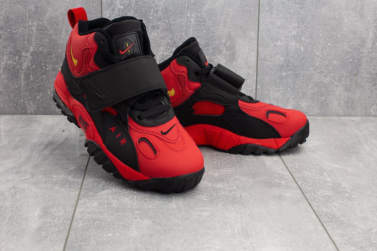Кроссовки А 321-8 (Nike AirMax) (весна-осень, мужские, кожа прессованая, красно-черный)