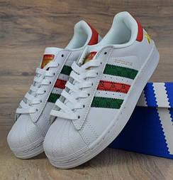 Мужские кроссовки Adidas Superstar Supercolor Gucci White. Живое фото. Топ Реплика ААА+