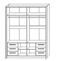 Полки к шкафу Милана 1800 дуб крафт белый/серый (Сокме)