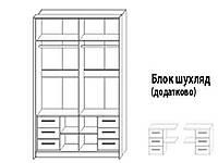 Блок ящиков шкафа-купе Милана 1800 дуб крафт белый/серый (Сокме)