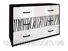 Комод Терра 3Ш білий глянець/чорний мат (Міромарк)