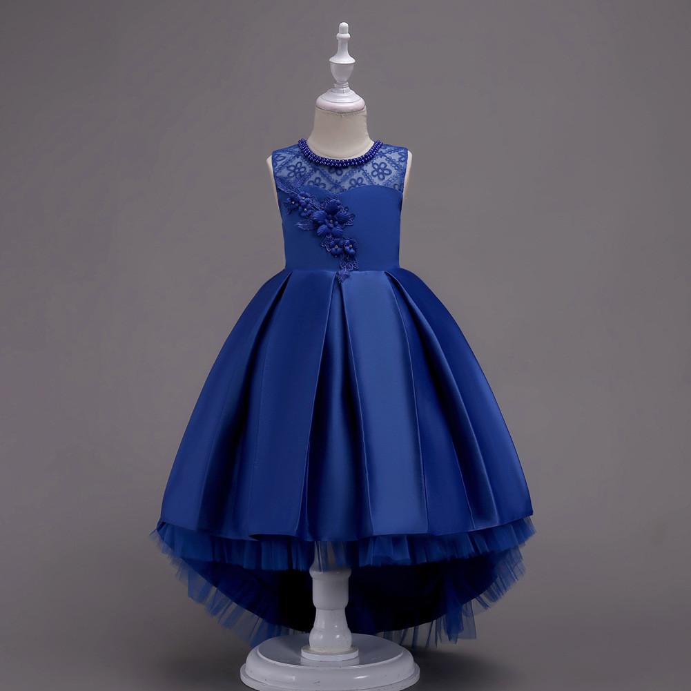 d970d86481679fc Нарядное платье со шлейфом для девочки синее - Интернет-магазин