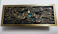 Трап латунный для душа 198 * 80 мм  в золоте с механическим клапаном Дракон  VE 469 F