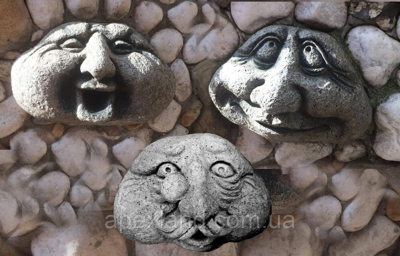 Камень-лицо - декор для сада, комплект 3 шт, цвет серый.