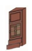 Кухня Юля 400 В пенал волн. витр. ПР вишня коньяк оксамит (НОВА)
