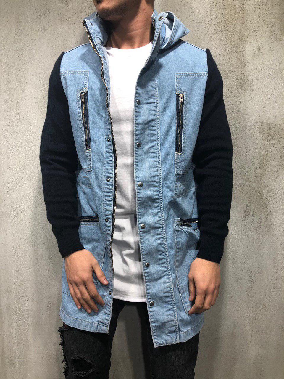 Мужская джинсовая куртка удлиненная сине-черная