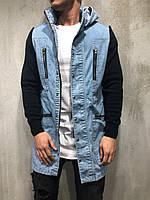 Мужская джинсовая куртка удлиненная сине-черная, фото 1