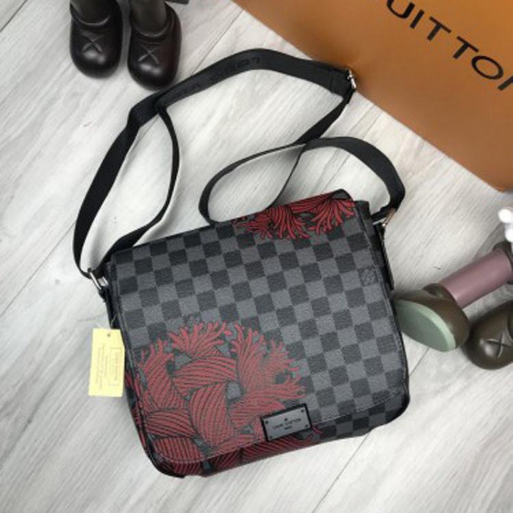 Модная женская сумка мессенджер Louis Vuitton серая кожа ПУ черная через плечо унисекс LV Луи Виттон реплика
