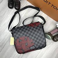 Модная женская сумка мессенджер Louis Vuitton серая кожа ПУ черная через плечо унисекс LV Луи Виттон реплика, фото 1