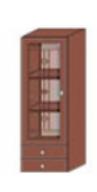 Кухня Юля 400 В пенал вітраж новий ЛВ/ПР вишня коньяк оксамит (НОВА)