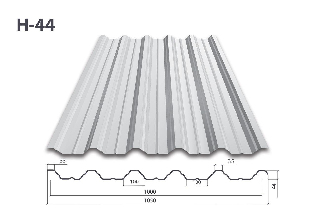 Профнастил Н-44 цинк (0.55мм)