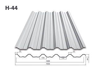 Профнастил Н-44 цинк (0.65мм)