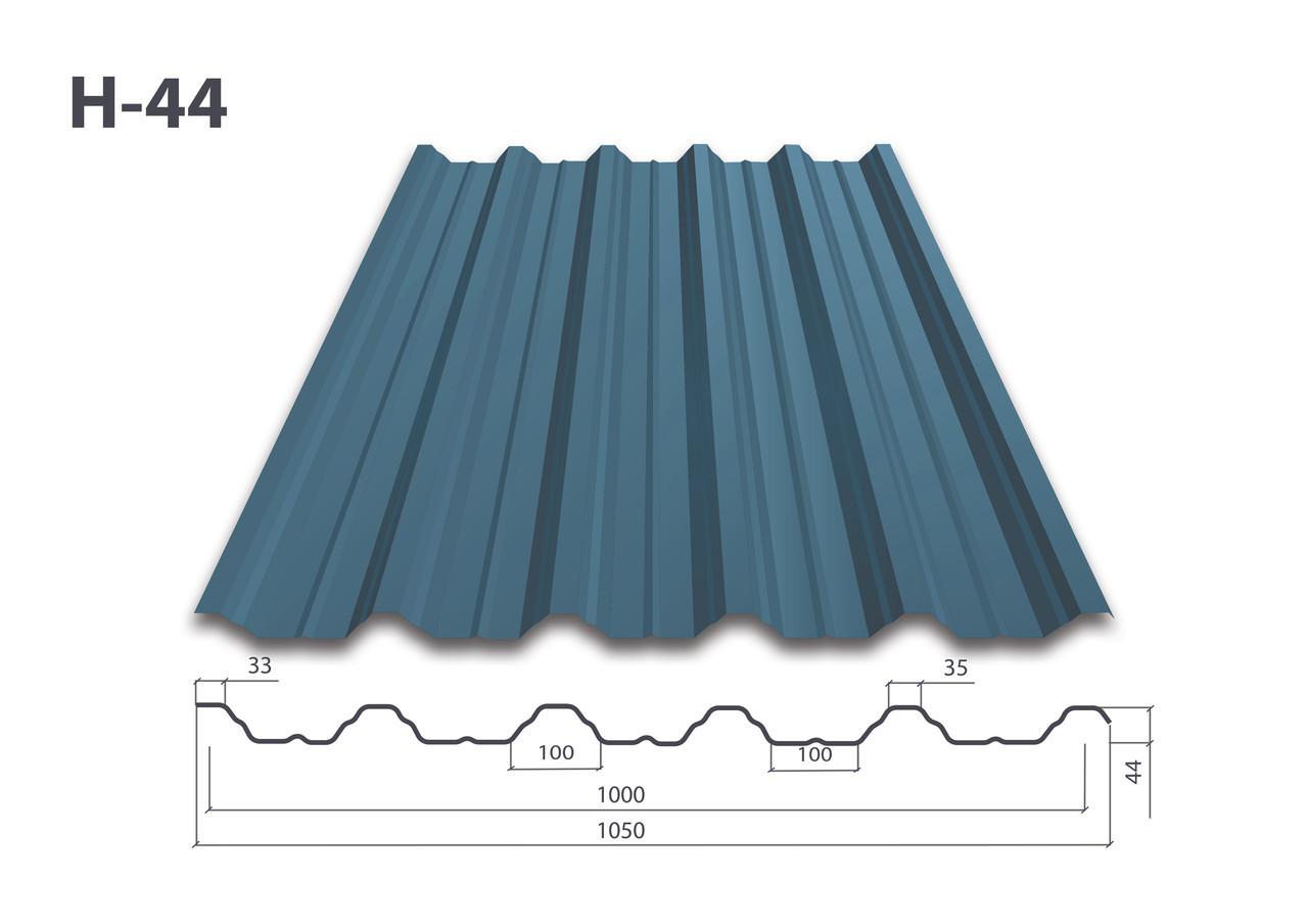 Профнастил Н-44 глянец (0.5мм)