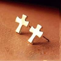 Серьги Крест / золотистый метал / Китай