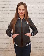 Детская куртка Бомбер для девочки кожзам на на меху чёрный 140 6c5c399609f1c