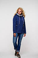 Демисезонная женская курточка в синем цвете размеры до 56