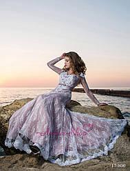 """Вечернее платье """"Русалка"""" с рукавами в пудровом цвете"""