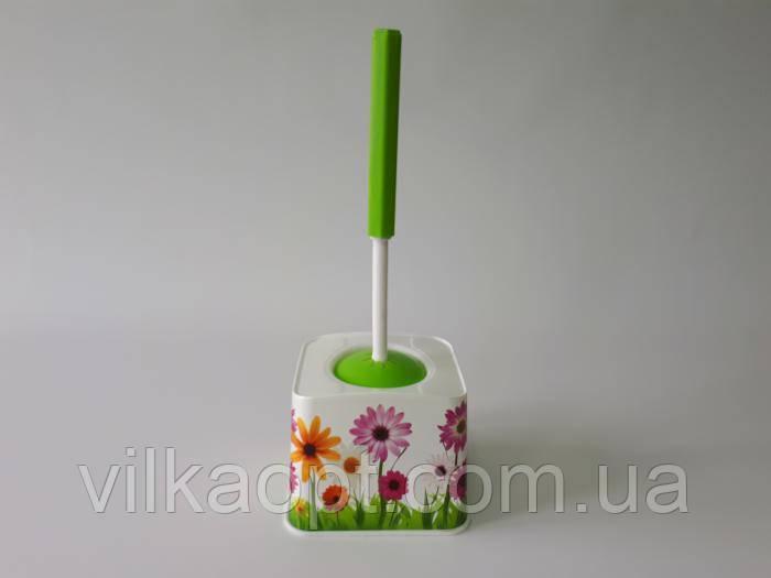 """Ёршик для туалета пластмассовый, с рисунком №388 """"Elif Plastik"""" L 33 cm."""