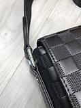 Кожаная мужская сумка мессенджер Louis Vuitton черная натуральная кожа сумка на плечо Луи Виттон реплика, фото 4