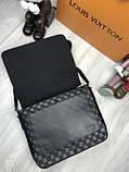 Кожаная мужская сумка мессенджер Louis Vuitton черная натуральная кожа сумка на плечо Луи Виттон реплика, фото 6