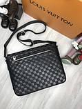 Кожаная мужская сумка мессенджер Louis Vuitton черная натуральная кожа сумка на плечо Луи Виттон реплика, фото 9