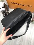 Кожаная мужская сумка мессенджер Louis Vuitton черная натуральная кожа сумка на плечо Луи Виттон реплика, фото 7