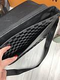 Кожаная мужская сумка мессенджер Louis Vuitton черная натуральная кожа сумка на плечо Луи Виттон реплика, фото 8