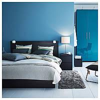 Кровать с контейнером MALM 140х200 см черно-коричневая