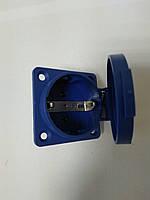 Розетка промышленная щитовая с заземлением с крышкой 16А 250В