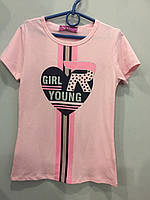 Подростковая футболка для девочки с оригинальным принтом 152 см, фото 1