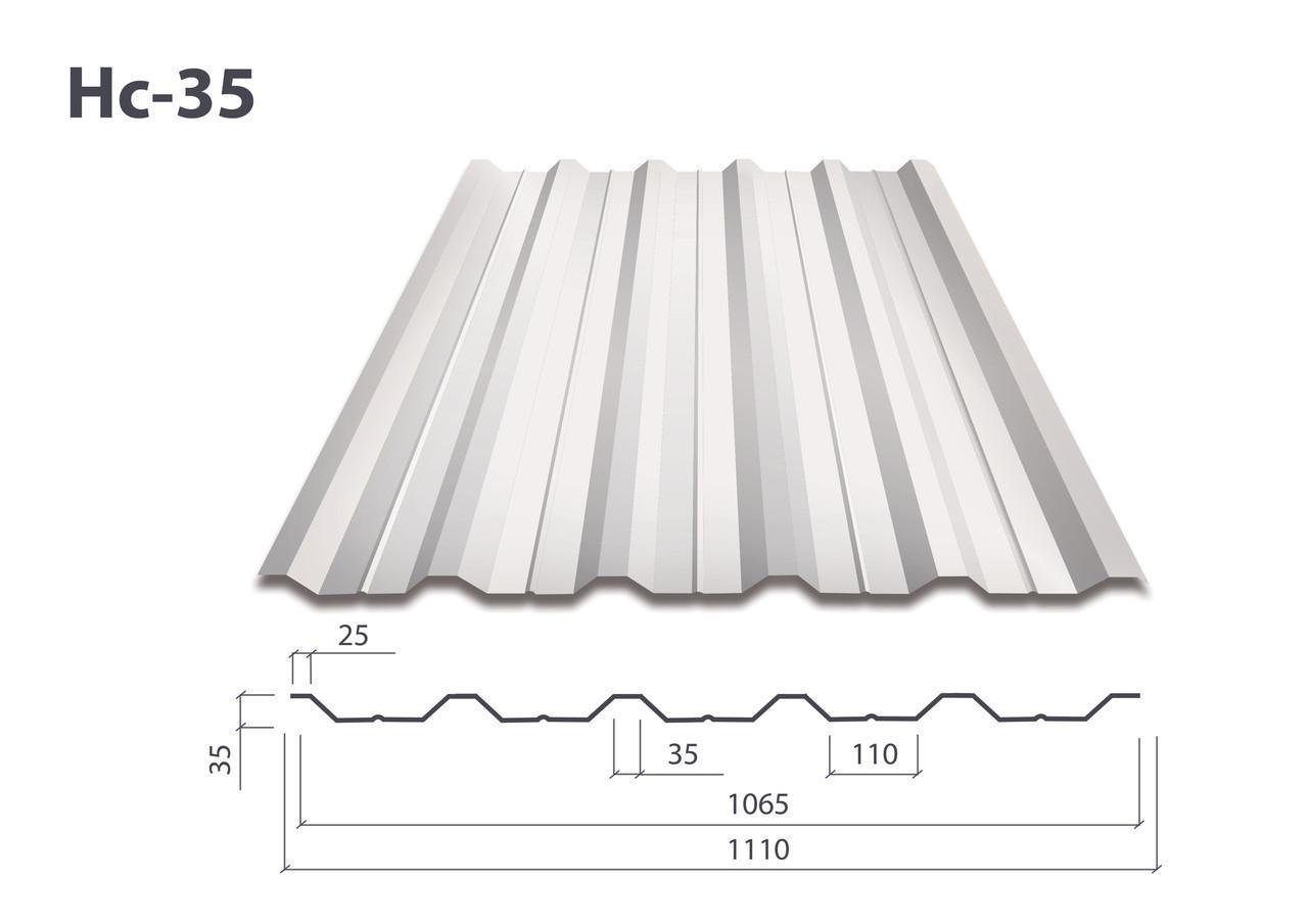 Профнастил Н-35 алюмо-цинк (0.45мм) Турция