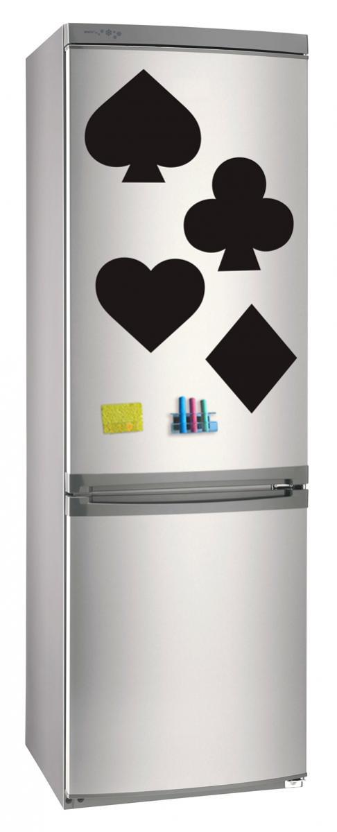 Магнитно-грифельная (меловая) доска на холодильник для записей и рисования мелом Карточние масти размер 42х58