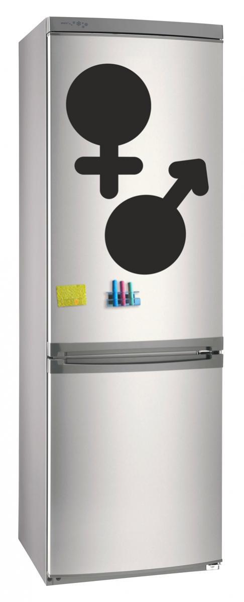 Магнитно-грифельная (меловая) доска на холодильник для записей и рисования мелом Марс Венера размером 42х25 см