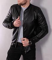 Черная мужская кожаная куртка, на молнии, демисезонная