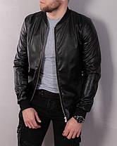 Черная мужская кожаная куртка, на молнии, демисезонная, фото 3