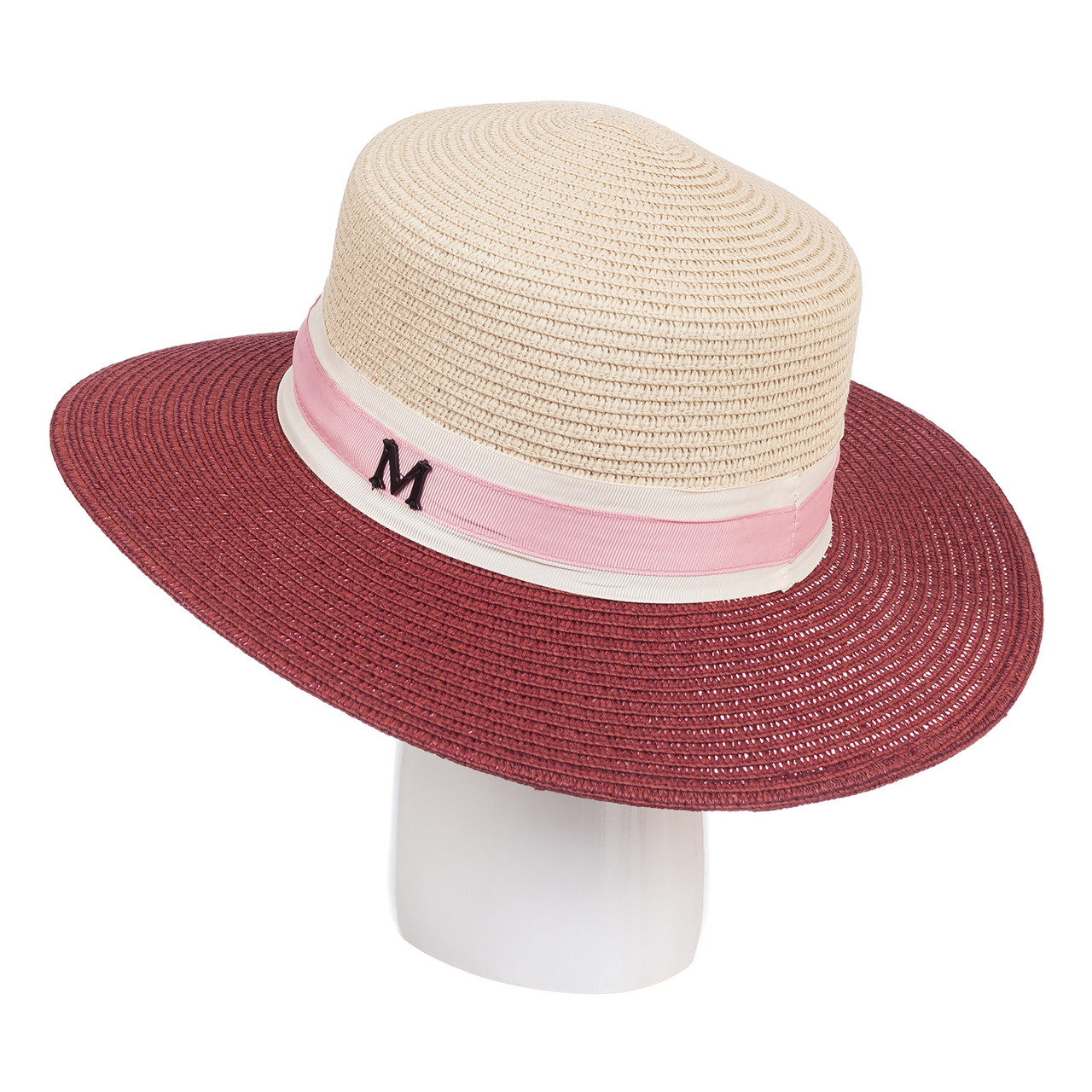 Шляпа бордо+св.бежевый  ( ШС-19-27 )