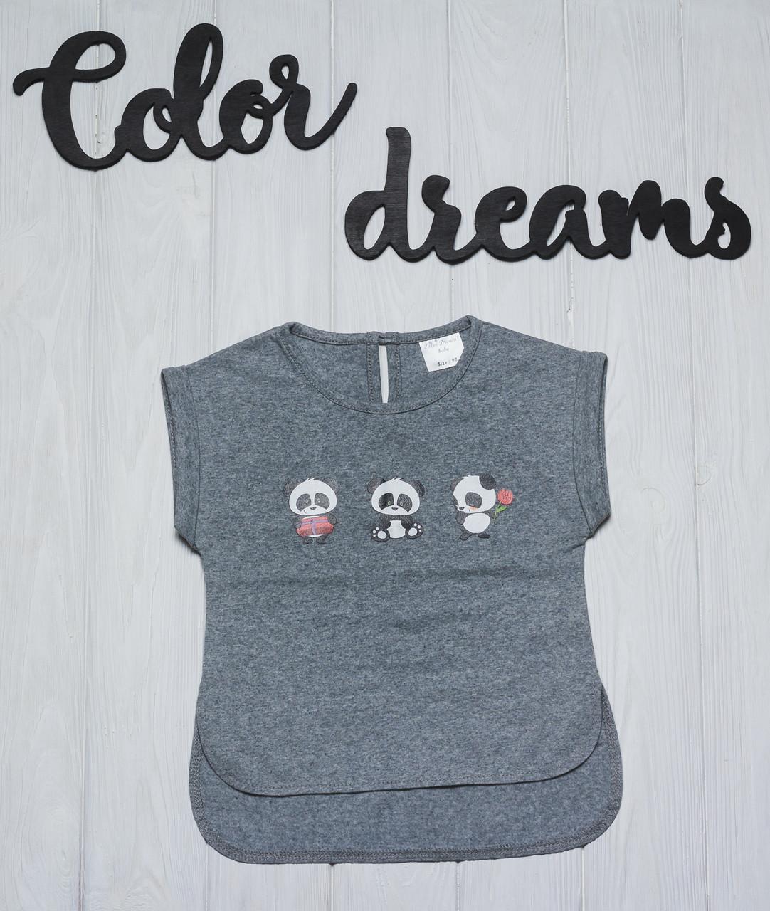 Стильная детская футболочка  с наклейкой Панды