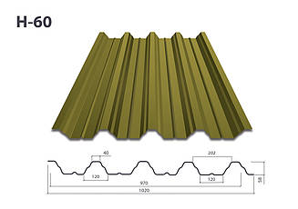 Профнастил Н-60 глянец (0,5мм)