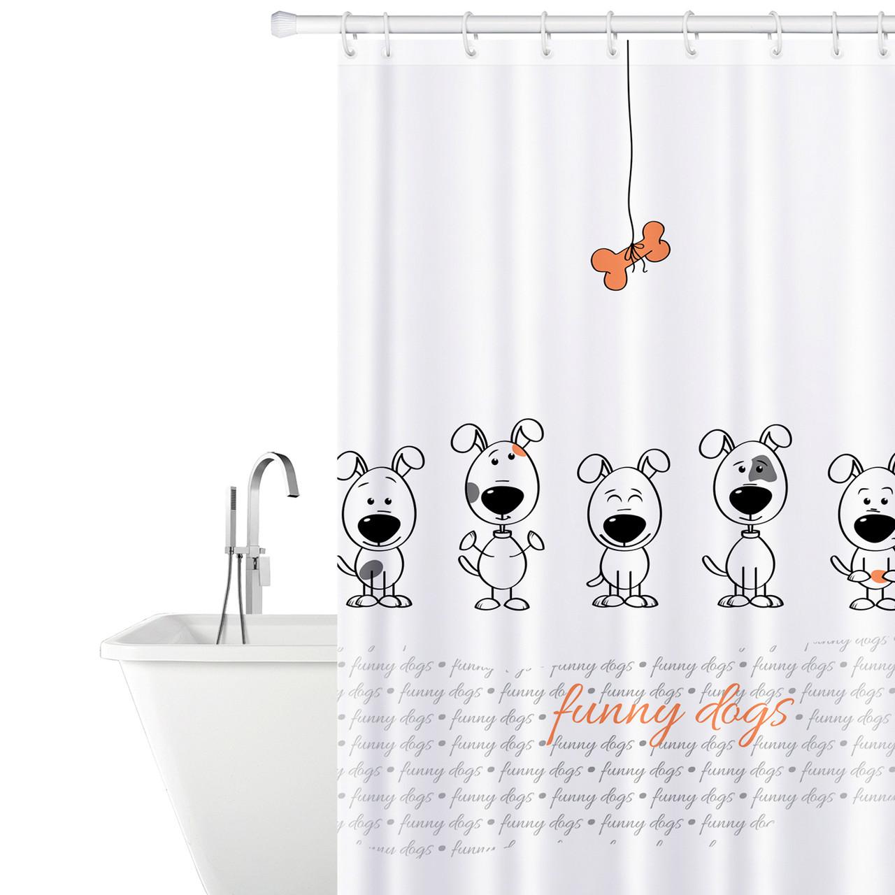 Тканевая штора для ванной комнаты Tatkraft 180 х 180 см Веселые собаки 18136, КОД: 166751