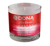 Cвеча для массажа и поцелуев dona kissable massage candle strawberry