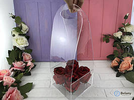 Коробка для цветов с оргстекла 14,5Х14,5Х40 цветочная прозрачная коробка под руку оригинальная упаковка цветов