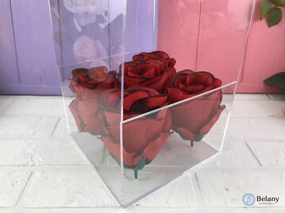 Коробка для цветов с оргстекла 14,5Х14,5Х40 цветочная прозрачная коробка под руку оригинальная упаковка цветов, фото 2