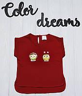 Стильная детская футболка  от 1 до 7 лет с наклейкой Совы