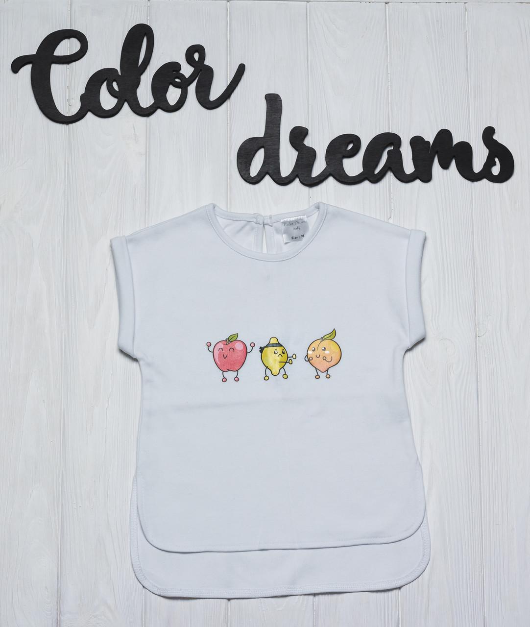 Стильная детская футболочка белого цвета  с наклейкой Фрукты