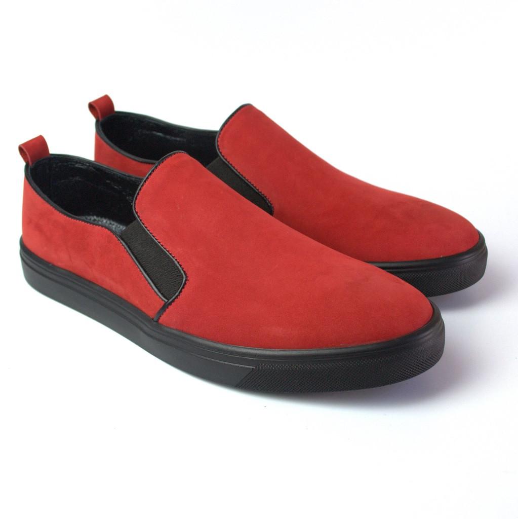 Слипоны мокасины красные нубук женская обувь больших размеров Sei stupenda BS Red Nub by Rosso Avangard