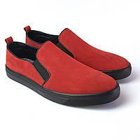 Слипоны мокасины красные нубук женская обувь больших размеров Sei stupenda BS Red Nub by Rosso Avangard, фото 1