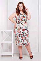 Элегантное летнее платье лен ниже колена без рукавов батал